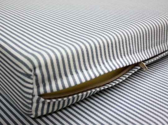 Zippered mattress protector Single Foam By Mail Custom Gray White Striped Zippered Foam Mattress Cover Foam By Mail