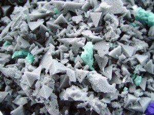 Shredded foam, which is formed into rebond foam sheets