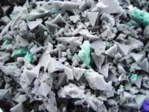 Shredded charcoal foam