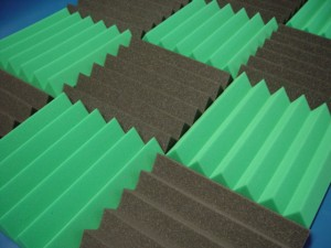 Green and Black Acoustic Wedge Tiles