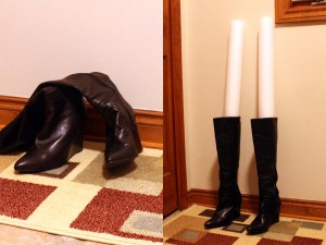 Polyethylene foam cylinders holding leather boots