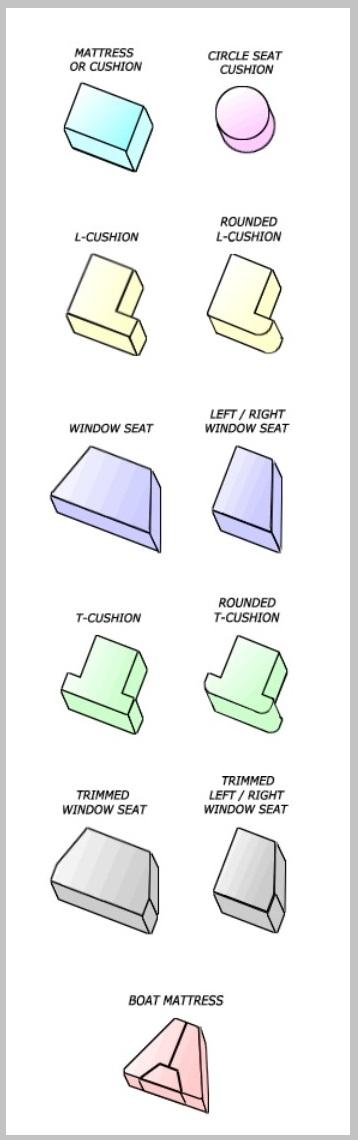 Foam Factory's standard cushion selection